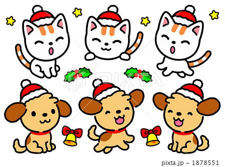 クリスマス猫犬アイコンのイラスト素材 1878551 Pixta