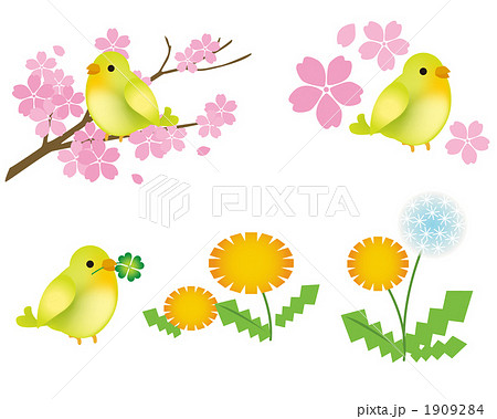 春の花と小鳥のイラスト素材 1909284 Pixta
