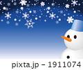 冬イメージのコピースペース (雪だるま_ボケなし~スタンダード) 1911074