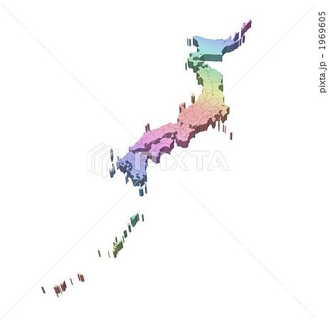 立体地図・日本地図・白地図/都道府県表示 1969605