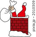 クリスマスイブ えんとつ サンタクロースのイラスト 2010309