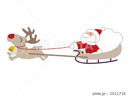 赤鼻のトナカイそりに乗って走るサンタクロースのイラスト素材 2011716