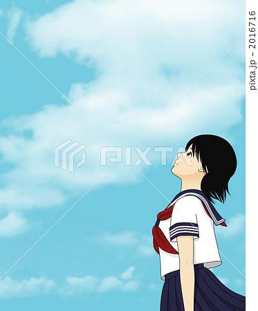 空を見上げる女子学生のイラスト素材 2016716 Pixta