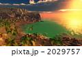 砂浜 風景 椰子のイラスト 2029757