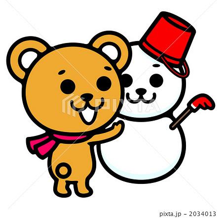 雪だるまを作るクマ 2034013