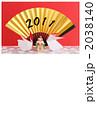 扇と卯と鏡餅赤バック◆年賀状1 2038140
