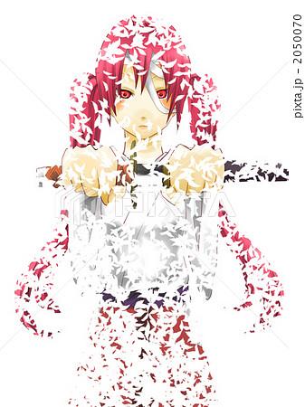 花吹雪舞う中の女の子のイラスト素材 2050070 Pixta