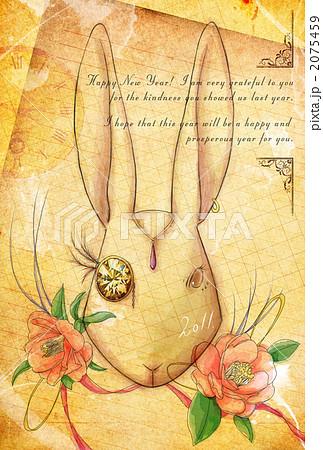 椿とウサギ 年賀状 2075459