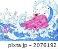 ピンクのクジラとタコと波 2076192