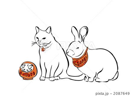 卯猫 rabbit and cat 2087649