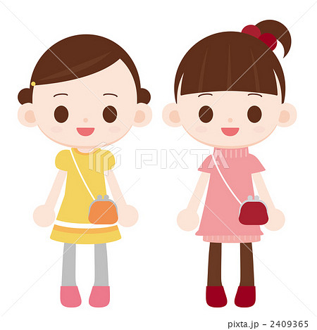 子供 女の子二人 お出かけのイラスト素材 2409365 Pixta