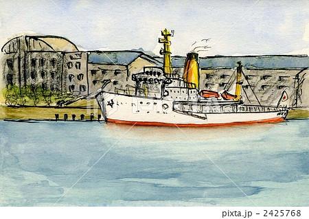 東京ビッグサイト係留中の海上保安庁の巡視船 水彩画 2425768