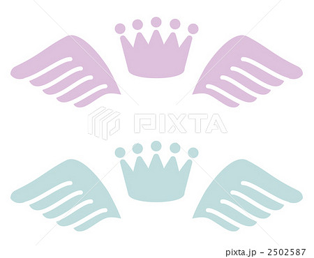 王冠と羽のマークのイラスト素材 2502587 Pixta