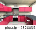 コの字型レイアウトキッチンのカラーバリエーション、鏡面レッド扉 2528035