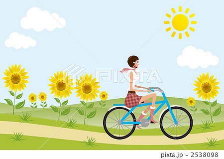 と自転車の女の子のイラスト ...