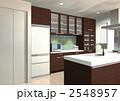 ウォールナット木目のオープンキッチン 2548957