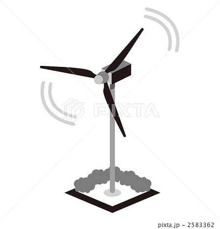 エコ発電 風力発電 風車のイラスト素材 2583362 Pixta