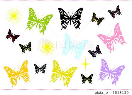 蝶 七色のイラスト素材 2613130 Pixta