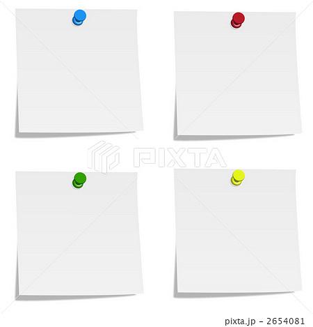 付箋紙 メモ用紙 押しピンのイラスト素材 2654081 Pixta