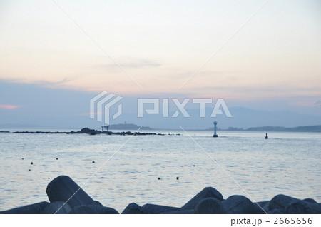 三浦半島の葉山から見える名島と森戸神社の鳥居 2665656