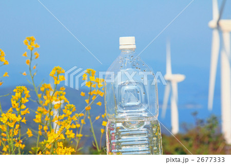 風力発電機の並ぶ花のある自然とペットボトル 2677333
