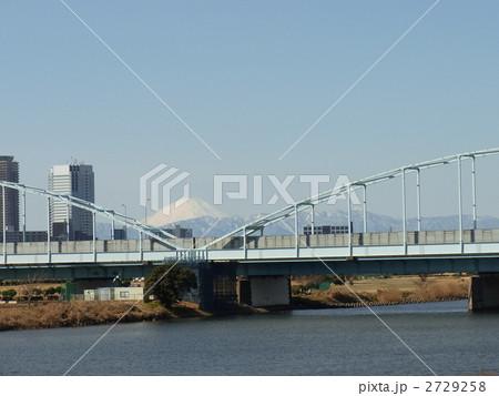 多摩川大橋から見る富士山の写真...