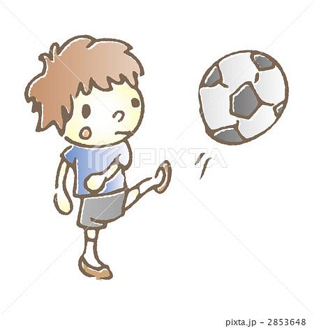 サッカー 男の子 蹴るのイラスト素材 2853648 Pixta