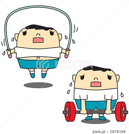 イラスト素材: 運動不足のメタボリックシンドローム
