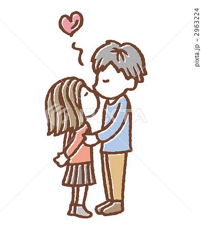男女 接吻 カップルのイラスト素材 2963224 Pixta