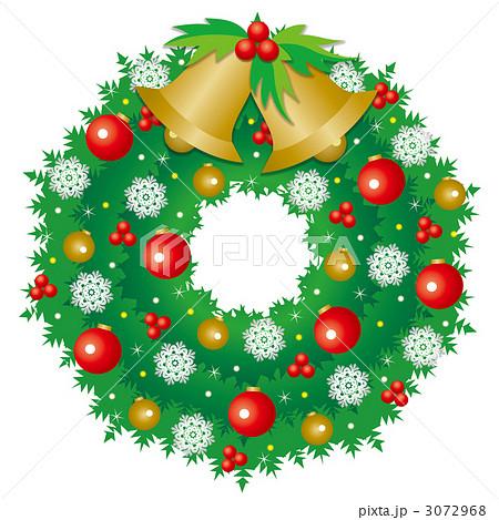 リース クリスマスリース 雪の結晶のイラスト素材 3072968 Pixta