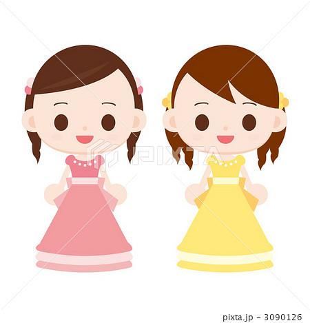 ドレスを着た女の子 ピンクと黄色のイラスト素材 [3090126] , PIXTA