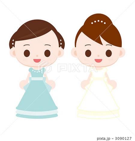 ドレスを着た女の子 水色と白 3090127