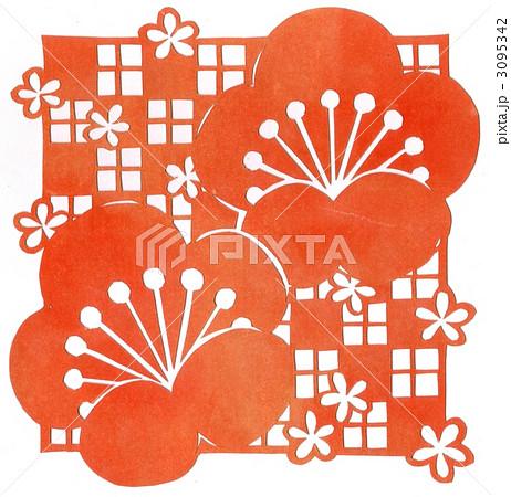 年賀状用イラスト素材(切り絵梅の花) 3095342
