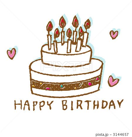 ホールケーキ 誕生日ケーキ バースデーケーキのイラスト素材 3144657