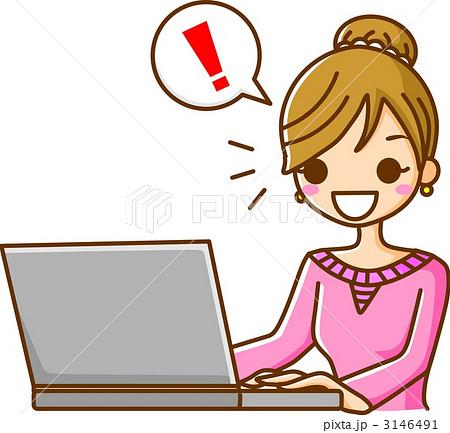 パソコンで発見する女性のイラス...