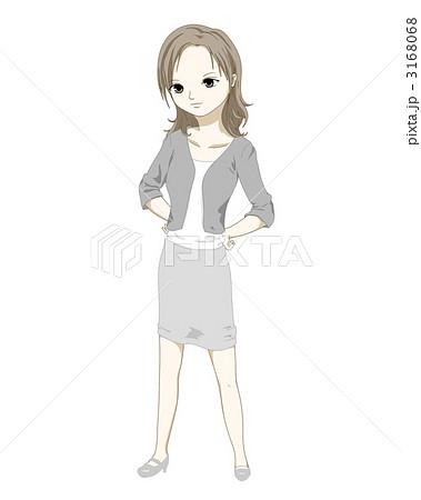 腰に手を当てる女性のイラスト素材 3168068 Pixta
