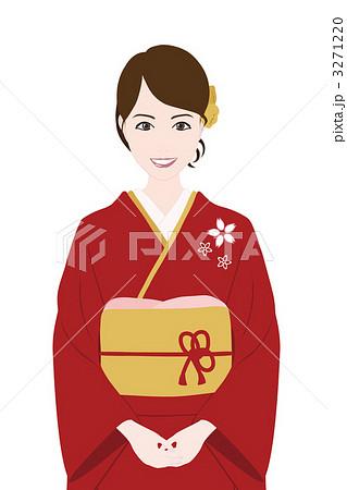着物姿の女の子のイラスト素材 3271220 Pixta