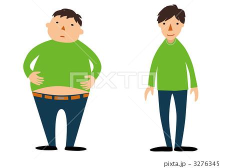 太った人と痩せた人のイラスト素材 3276345 Pixta