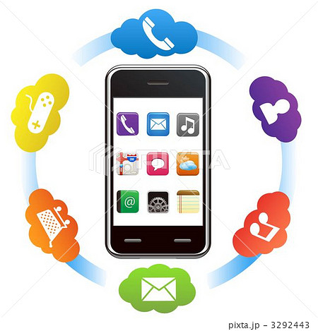 スマートフォンとアプリのイラスト素材 3292443 Pixta