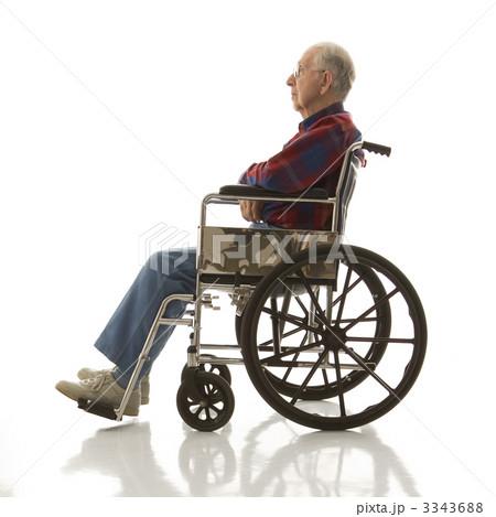 Elderly man in wheelchair.の写真素材 [3343688] - PIXTA