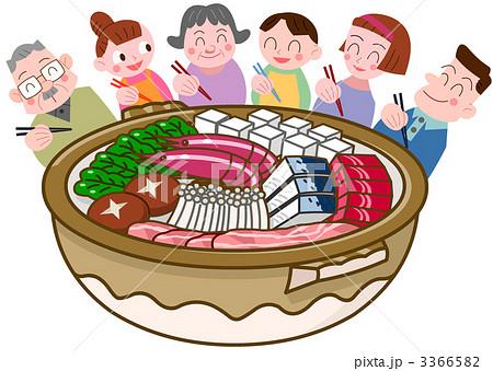家族でお鍋のイラスト素材 3366582 Pixta