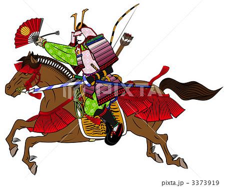 馬に乗る戦国武将のイラスト素材 3373919 Pixta