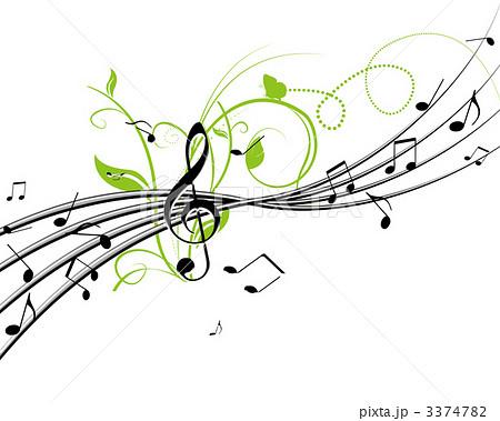 音楽と植物のイラスト素材 [3374...