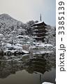 神社仏閣 瑠璃光寺五重塔 雪景色の写真 3385139