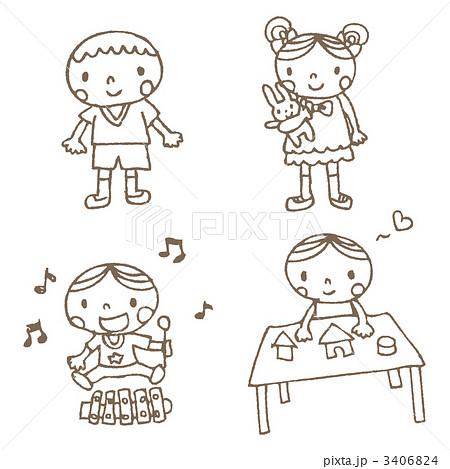 3406824. 子供 女の子 男の子のイラスト