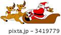 サンタクロース トナカイ クリスマスのイラスト 3419779