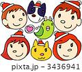 父親 顔のアップ サンタさんの帽子のイラスト 3436941