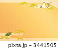 紗綾形・霞文に鶴亀松のおめでたい背景 3441505
