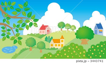 夏のイラスト 風景 入道雲のイラスト素材 3443741 Pixta