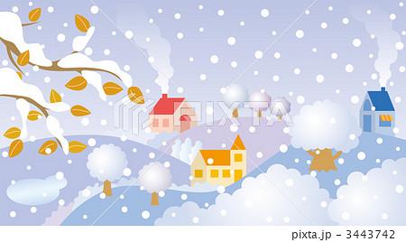 雪 風景 冬のイラストのイラスト素材 3443742 Pixta
